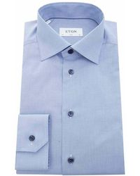 Eton of Sweden - Contrast Button Puppy Tooth Slim Fit Shi - Lyst