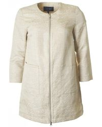 Armani - Boucle Zip Through Duster Coat - Lyst