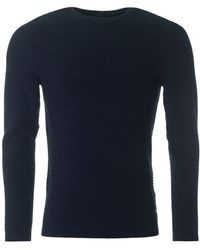 BOSS Black - Banty Striped Structured Crew Neck Knit - Lyst