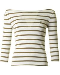 Polo Ralph Lauren - Striped Logo Three Quarter Sleeve Top - Lyst