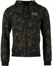 EA7 - Train Graphic All Over Camo Zip Sweat - Lyst