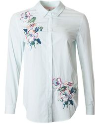Joules - Embroidered Longline Striped Shirt - Lyst
