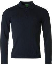 BOSS Green - C Camus Merino Knit Long Sleeved Polo - Lyst