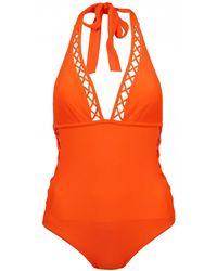 Ted Baker - Faux Lattice Mesh Swimsuit - Lyst