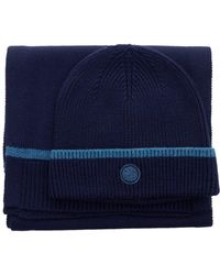 Pretty Green - Beanie And Scarf Set In Navy - Lyst