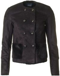 Armani Jeans - Double Breasted Shearling Jacket - Lyst