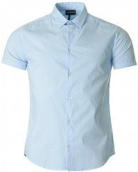 Armani - Slim Fit Cotton Poplin Logo Shirt - Lyst