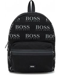 BOSS - Backpack In Nylon Gabardine With Logo Print - Lyst