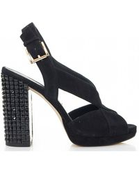 3655c9f5bd19 Lyst - Michael Kors Becky Black Suede Platform Sandals in Black