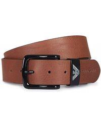 Armani Jeans Eagle Logo Buckle Leather Belt