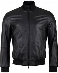 Armani - Eco Leather Bomber Jacket - Lyst
