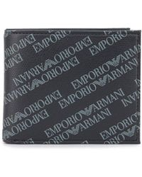 Armani Jeans - All Over Script Coin Pocket Wallet - Lyst
