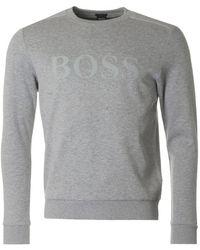 BOSS Athleisure - Salbo Big Logo Crew Neck Sweatshirt - Lyst