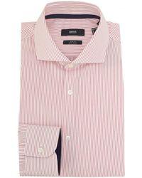 BOSS Black - Jery Contrast Trim Fine Stripe Shirt - Lyst