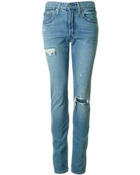 Levi's - 501 Skinny Distressed Jeans - Lyst