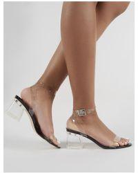 3c7fadbfb7b Lyst - Public Desire Alison Faux Fur Perspex Heel Platforms In Black ...