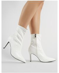 Public Desire - Hollie Pointed Toe Ankle Boots In White Croc - Lyst