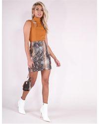 3970fc398c New Look Tan Leopard Print Denim Mini Skirt in Brown - Lyst