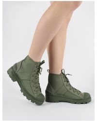 664831fe541 Public Desire - Greenland Ankle Boots In Khaki Canvas - Lyst