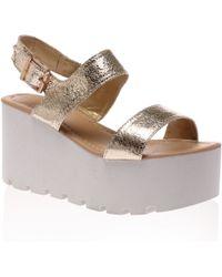 Public Desire - Faye Gold Chunky Flatform Sandal - Lyst
