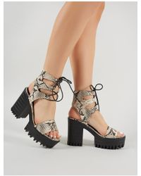 516001c5ad96 Lyst - Public Desire Tassie Knotted Lace Up Platform Heels In Nude ...