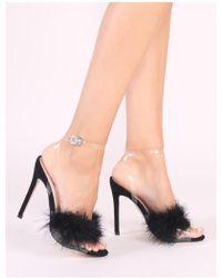 a8c13d48c20 Lyst - Public Desire Mimi Feather Block Heels In Nude Faux Suede in ...