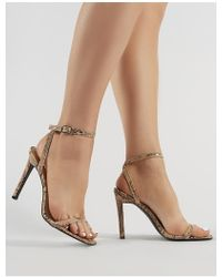 6b8f2e41bf5 Public Desire - Notion Squared Toe Barely There Heels In Snake Print - Lyst