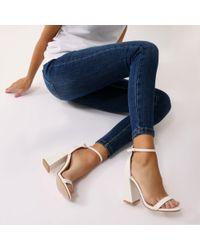 Public Desire - Tess Block Heels In White - Lyst