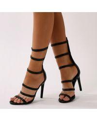 Public Desire - Mamba Knee High Strappy Heels In Black Faux Snake - Lyst