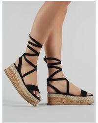 7813b3acf8a0 Lyst - Public Desire Cassie Elasticated Strappy Flatform Sandals In ...