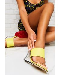 640744366c15 Public Desire - Shania Perspex Wedge Heeled Mules In Yellow - Lyst