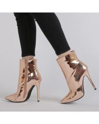 Public Desire - Harlee Metallic Pointed Toe Ankle Boots In Rose Gold - Lyst
