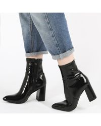 Public Desire - Raya Pointed Toe Ankle Boots In Black Patent - Lyst