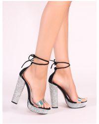 Public Desire - Chuck Diamante Lace Up Heels In Black - Lyst