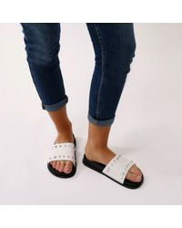 Public Desire - Azura Studded Sliders In White - Lyst