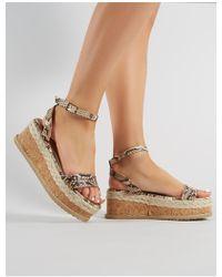 ff23e8909f6e Birkenstock Arizona Snakeskin-Print Sandals in Natural - Lyst