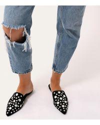 Public Desire - Josephine Studded Backless Loafers In Black Velvet - Lyst