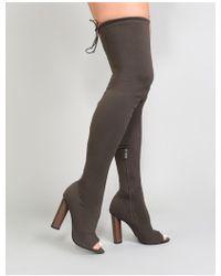 Public Desire - Carissa Peeptoe Knitted Long Boots In Khaki - Lyst