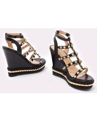 Public Desire - Sally Gladiator Studded Wedges In Black And Gold - Lyst