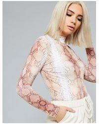 Public Desire - Nude Slinky Snake Print Bodysuit - Lyst