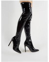 e9b699d9ac4 Lyst - Public Desire Alexus Thigh High Boots In Black Faux Suede in ...