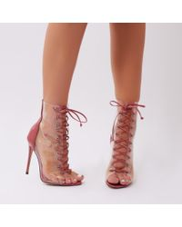 2614bf8161d Public Desire - Giga Perspex Lace Up Ankle Boots In Blush Pink Patent - Lyst