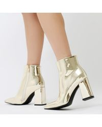 Public Desire - Empire Pointed Toe Ankle Boots In Gold Metallic - Lyst