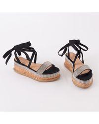 Public Desire - Bora Bora Diamante Lace Up Sandal In Black - Lyst