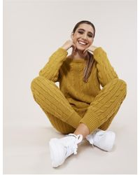 Public Desire - Mustard Cable Knit Co-ord - Lyst