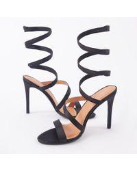 efd891798cb Public Desire - Fire Sculpted Wrap Around Stiletto High Heels In Black  Satin - Lyst