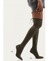 Public Desire - Tokyo Perspex Twist Heel Long Boots In Khaki Sock Fit - Lyst