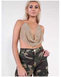 52fa476140eebf Missguided Gold Look Chainmail Bralette in Metallic - Lyst