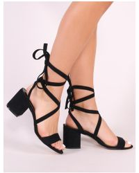 5358067a54b Lyst - Public Desire Jayda Lace Up Heels In Black in Black