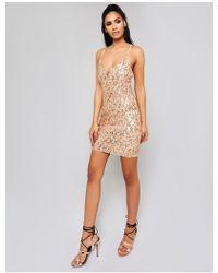 Public Desire - Rose Gold Cami Sequin Mini Dress - Lyst